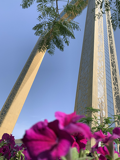 The Dubai Frame from the ground