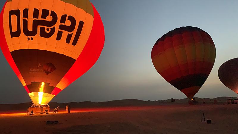 Dubai hot air ballooning at dawn