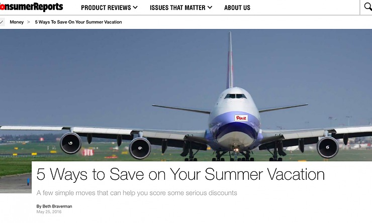 "Beth Braverman of Consumer Reports interviews Darley for ""5 Ways to Save on Your Summer Vacation."""