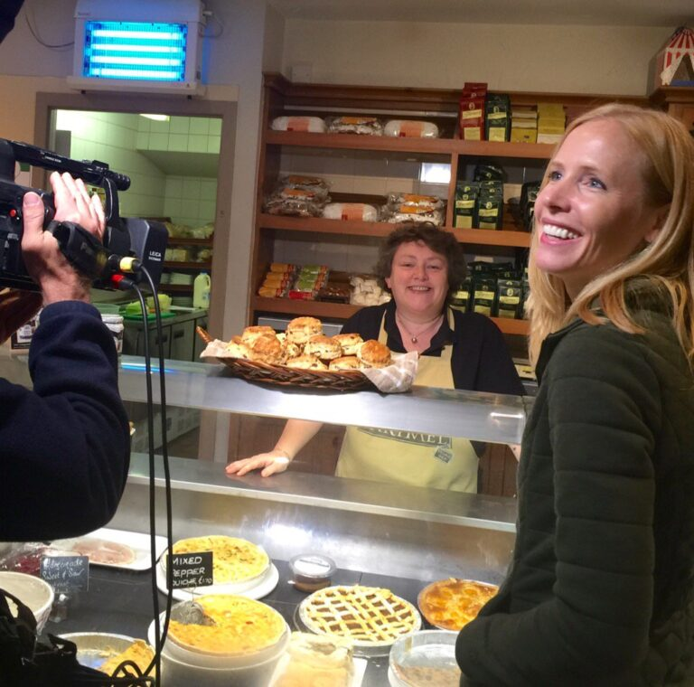 Darley filming at Cartmel's Village Shop for sticky toffee pudding