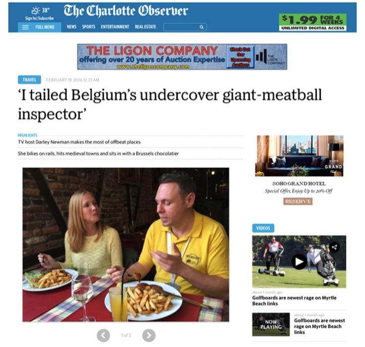 John Bordsen interviews Darley in The Charlotte Observer about her quirky adventures in Belgium