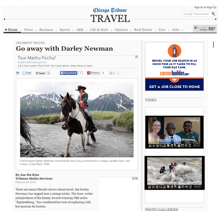 Darley in the Chicago Tribune with Horses