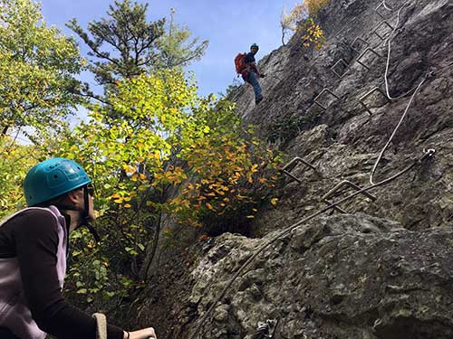 You want me to go up where?!?!? Darley goes rock climbing via ferrata at N Rocks in West Virginia