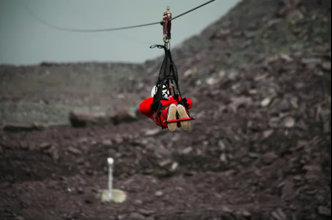 Zip lining head first in Wales with Darley Newman