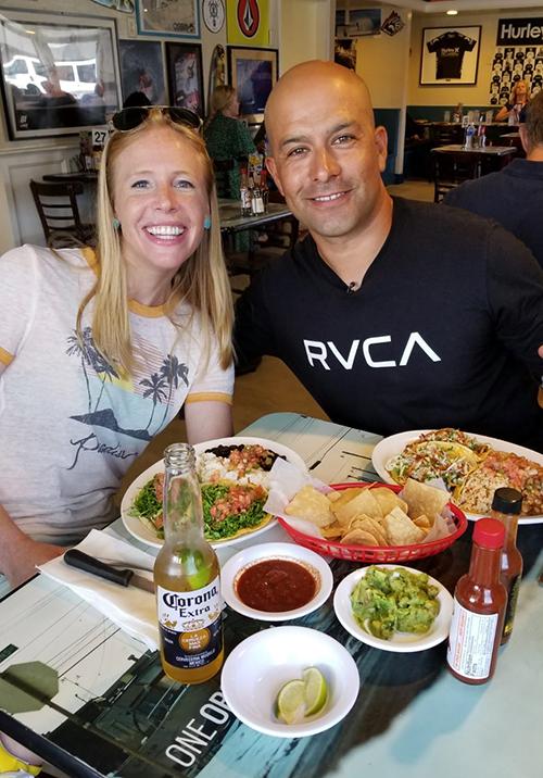 Fish tacos at Wahoos Fish Tacos with Joey Lopez and Darley Newman