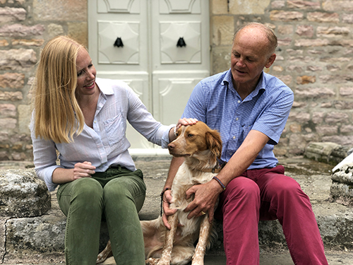 Meeting the castle dog at Brittany's Chateau Bienassis