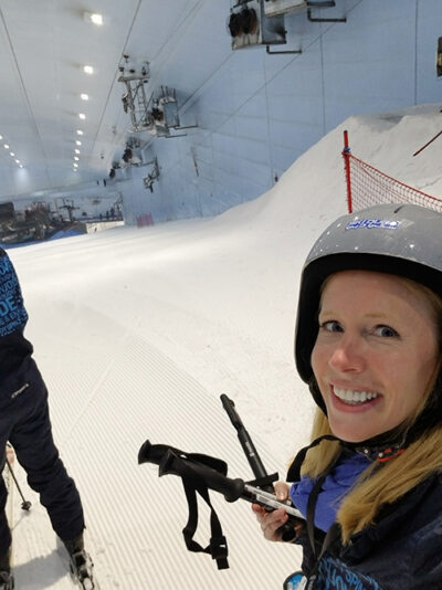 Skiing in the Dubai Mall with Darley