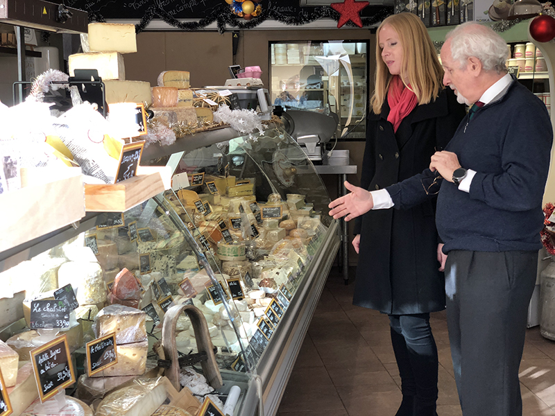 Darley at the cheese market in Cannes