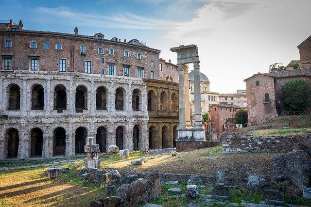 Colosseum and Roman Forum in Rome, Italy