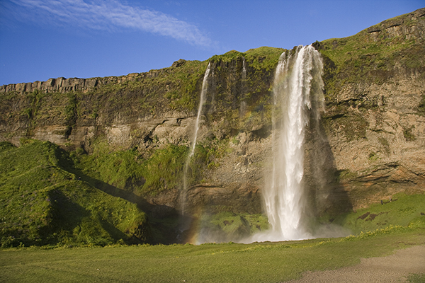Waterfalls and rainbow in Iceland