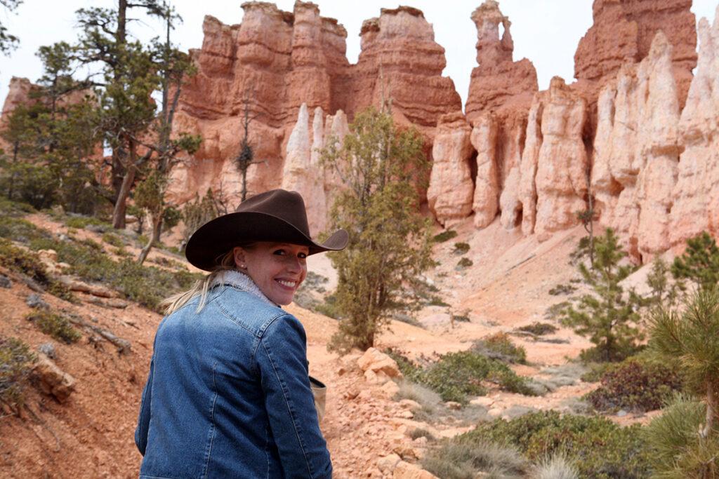 Darley Newman horseback riding at the Bryce Canyon National Park
