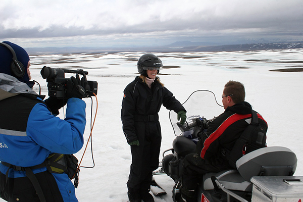 Darley goes snowmobiling in Iceland