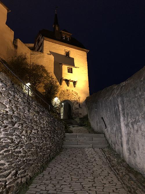 Marksburg Castle at night in Germany