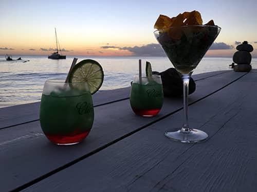 Rum drinks at Carbet beach