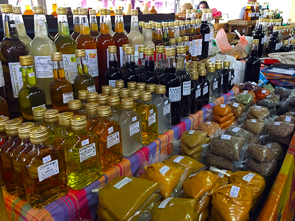 Liquor and spices at the Martinique market