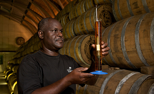Measuring rum in Martinique