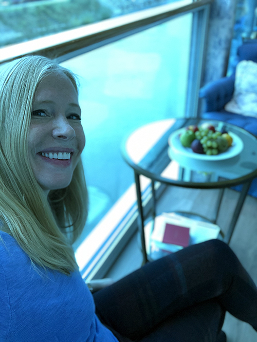 Darley in her room with a view on the Rhine River Cruise