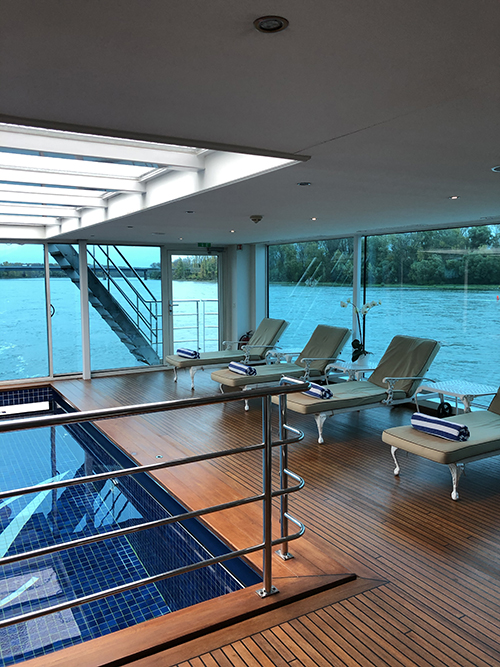 A pool with a view on board the S.S. Antoinette