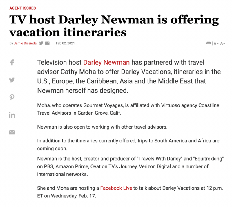 Travel Weekly Covered Darley Vacations