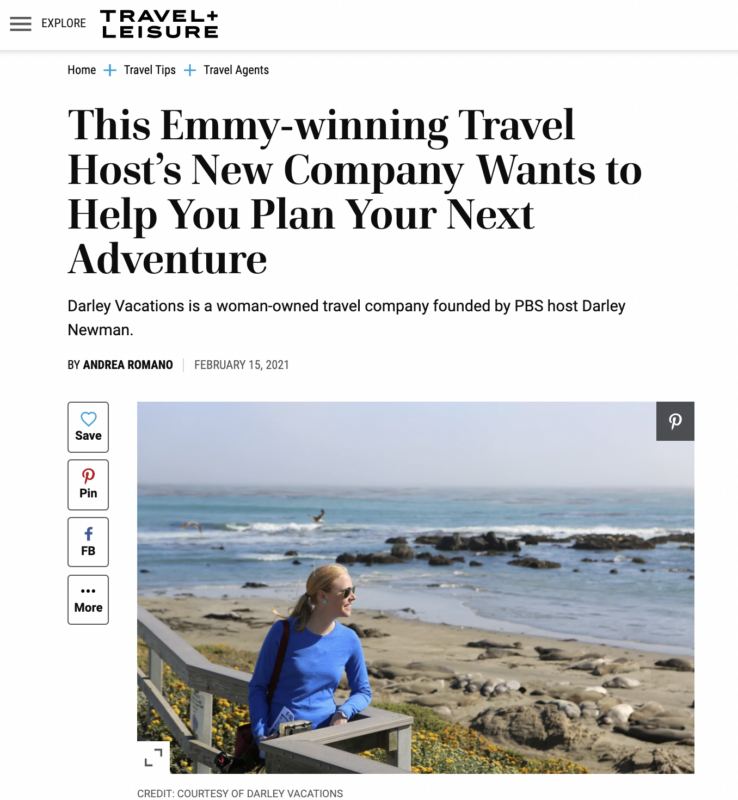 Travel+Leisure Features Darley Vacations in Feb, 2021
