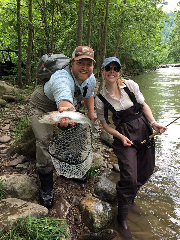 Fly fishing at Harmon's Luxury Cabins