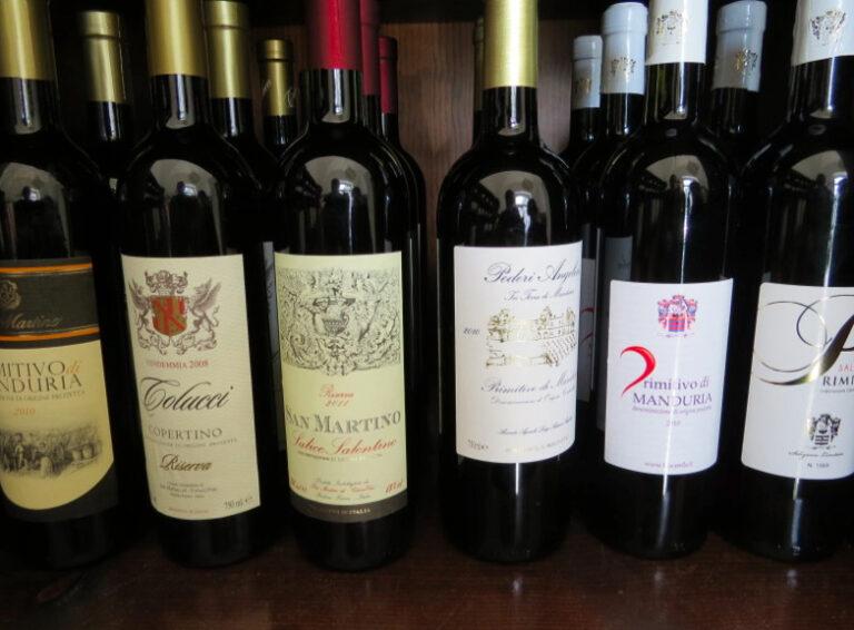 Primativo wine in Puglia, Italy