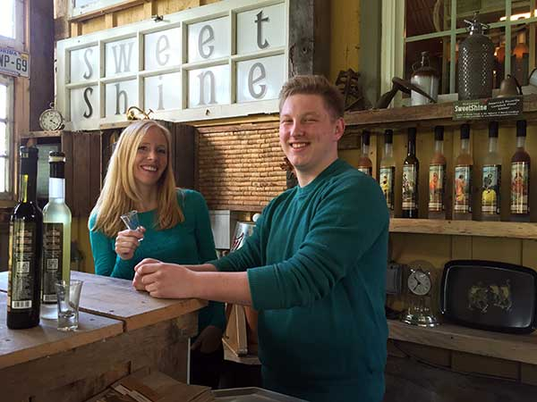 Darley tries limoncello at Bloomery Distillery