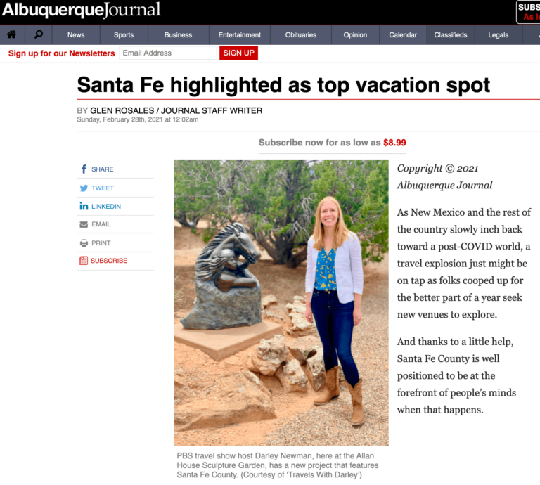 Albuquerque Journal features Darley Vacations