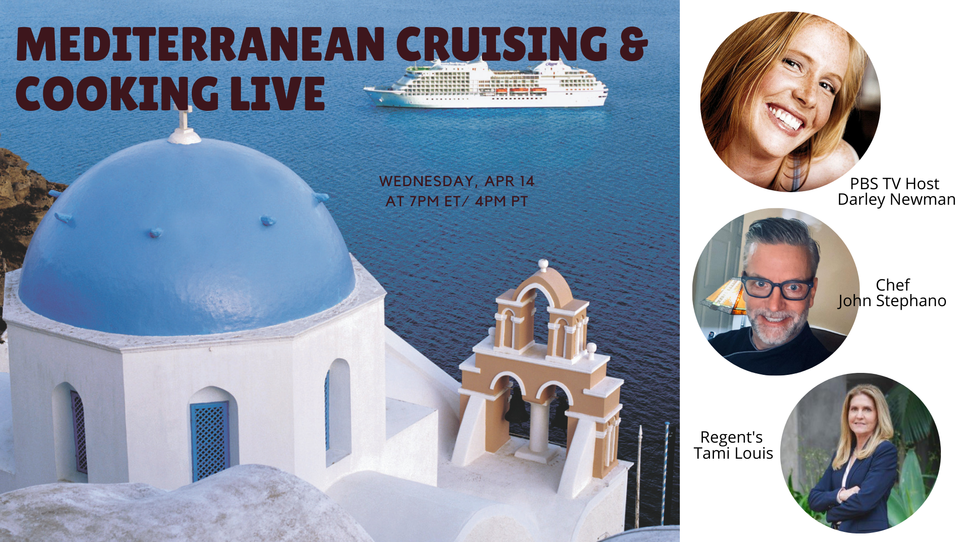 Mediterranean Cruising and Cooking LIVE