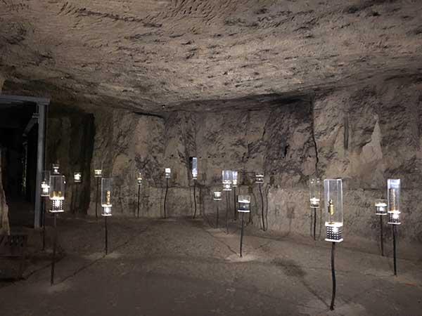 Inside chilling Caverne du Dragon in France.
