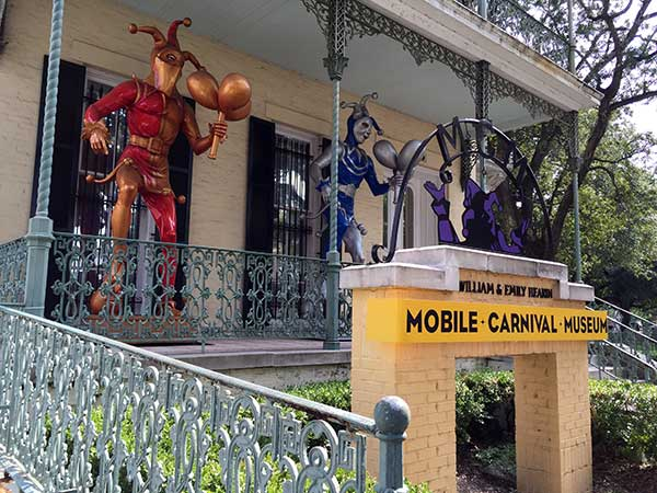 Outside of the Mobile Carnival Museum in Alabama.