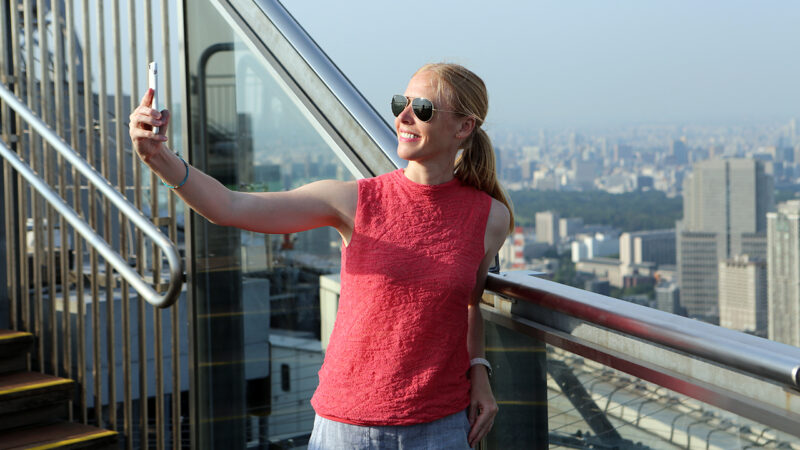 Darley Newman enjoys the city view of Tokyo