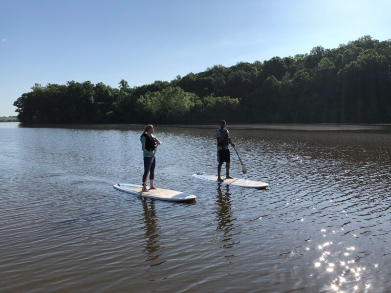 Stand-up paddleboarding on Culpeper's Lake Pelham