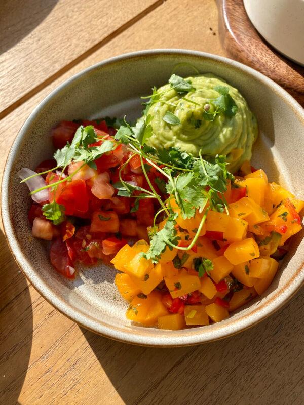 Delicious guacamole, pico de gallo, and tropical salsa at The Kimpton Goodland