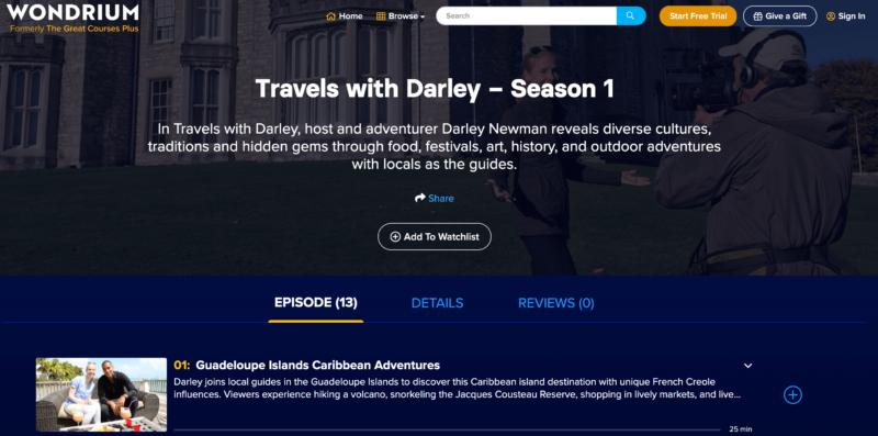 """Travels with Darley"" on Wondrium"