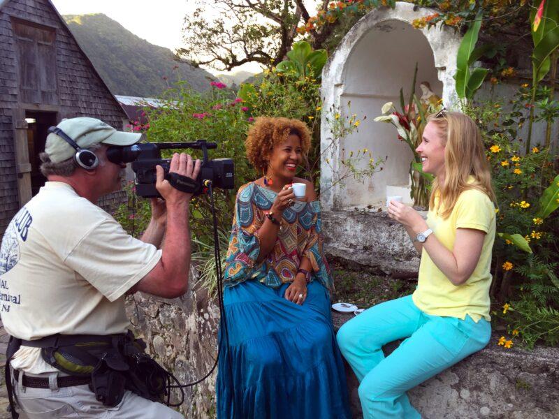 Enjoying coffee in Guadeloupe